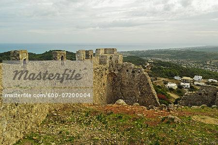 Asklipiou Castle ruins, Rhodes, Dodecanese, Aegean Sea, Greece, Europe