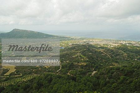 View of Kremasti from Filerimos, Rhodes, Dodecanese, Aegean Sea, Greece, Europe