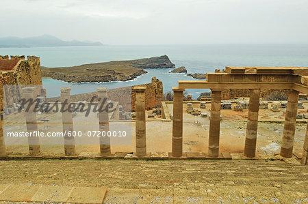 The Acropolis at Lindos, Rhodes, Dodecanese, Aegean Sea, Greece, Europe