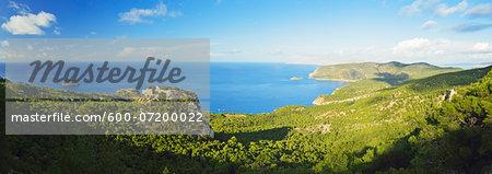 Monolithos Castle and Aegean Sea, Rhodes, Dodecanese, Aegean Sea, Greece, Europe