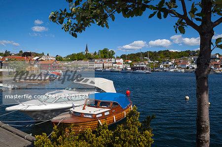 Harbor in idyllic Grimstad, Sorlandet, Aust-Agder, Norway, Scandinavia, Europe