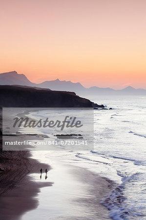 View from Playa del Viejo to the Peninsula of Jandia, La Pared, Fuerteventura, Canary Islands, Spain, Atlantic, Europe