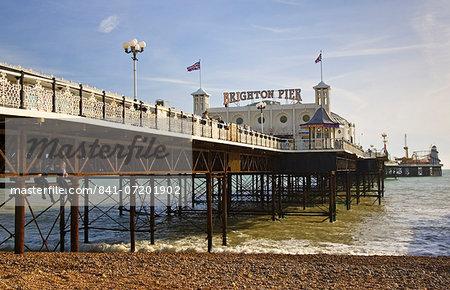 Brighton Pier, on the shoreline of the South Coast in England, United Kingdom