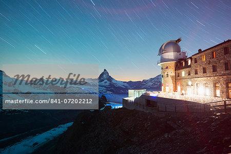 The Matterhorn, 4478m, and Gornergrat Observatory, Zermatt, Valais, Swiss Alps, Switzerland, Europe