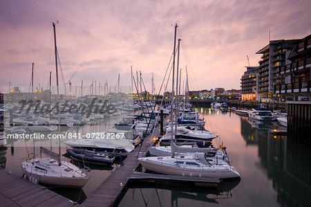 Yachts moored at Ocean Village Marina, Southampton, Hampshire, England, United Kingdom, Europe