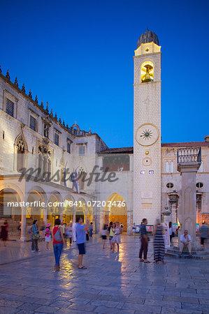 Clock tower at dusk, Stradun, UNESCO World Heritage Site, Dubrovnik, Dalmatian Coast, Dalmatia, Croatia, Europe