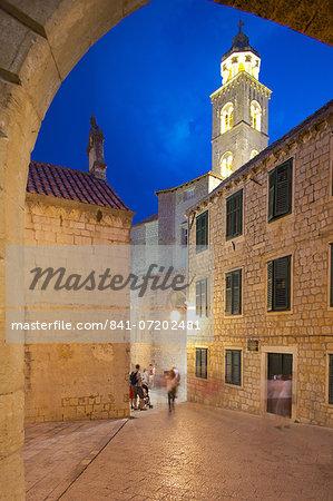 City walls and clock tower at dusk, UNESCO World Heritage Site, Dubrovnik, Dalmatian Coast, Dalmatia, Croatia, Europe