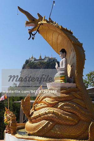 Buddha statue beneath Mount Popa Temple, Mount Popa, near Bagan, Central Myanmar, Myanmar (Burma), Asia