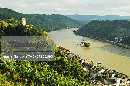 Castle Gutenfels on Hill above Kaub and Pfalzgrafenstein Castle on Rhine River, Rhineland-Palatinate, Germany