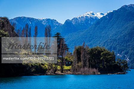 Scenic view of Lake Todos los Santos, Parque Nacional Vicente Perez Rosales, Patagonia, Chile