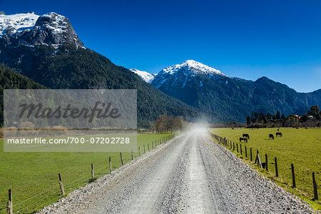 Road towards Argentina at Peulla, Parque Nacional Vicente Perez Rosales, Patagonia, Chile