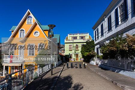 View of city street, Valparaiso, Provincia de Valparaiso, Chile