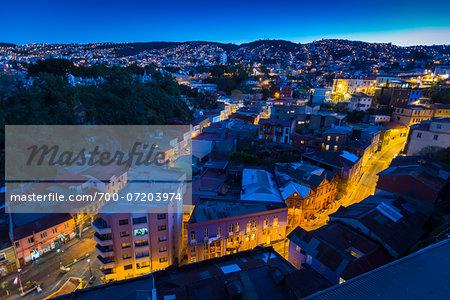 Overview of city at night, Valparaiso, Provincia de Valparaiso, Chile