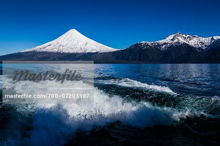 Close-up of backwash from boat in Lake Todos los Santos and Osorno Volcano, Parque Nacional Vicente Perez Rosales, Patagonia, Chile