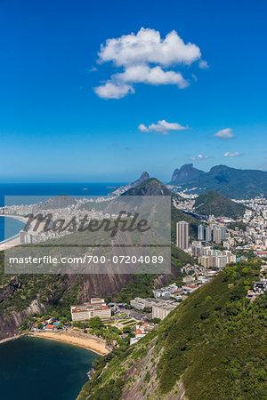 View over Morro do Leme towards Copacabana Beach, Rio de Janeiro, Brazil