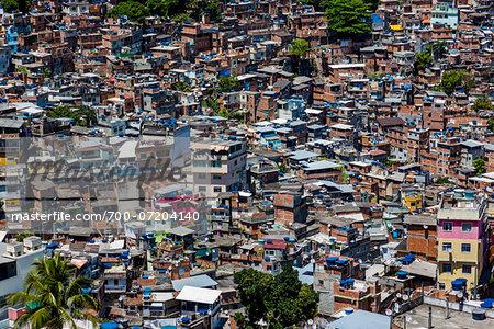 Overview of Rocinha Favela, Rio de Janeiro, Brazil