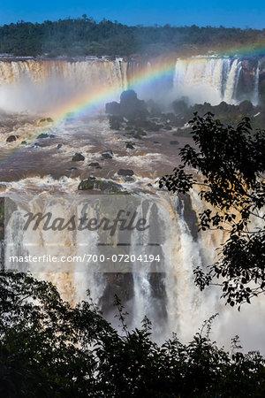 Scenic view of Iguacu Falls with rainbow, Iguacu National Park, Parana, Brazil