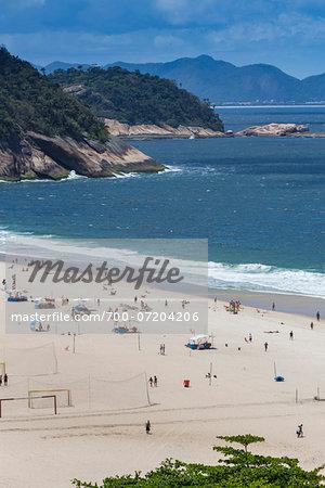 Scenic view of Copacabana Beach, Rio de Janeiro, Brazil