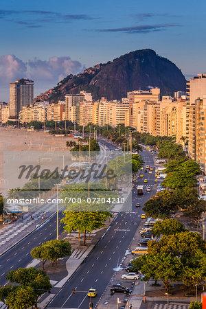 Scenic view of Copacabana Promenade and Copacabana Beach, Rio de Janeiro, Brazil
