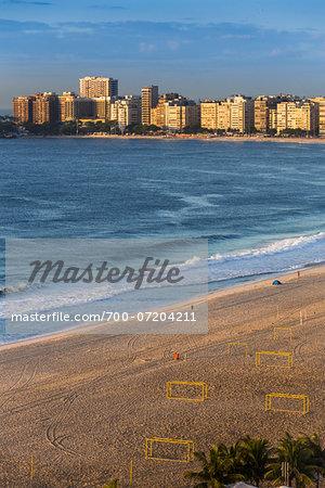 Copacabana Beach and buidlings along shoreline, Rio de Janeiro, Brazil