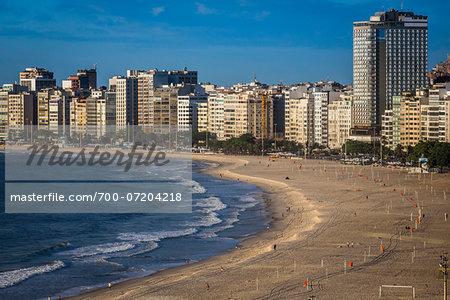 Copacabana Beach and building along shoreline, Rio de Janeiro, Brazil