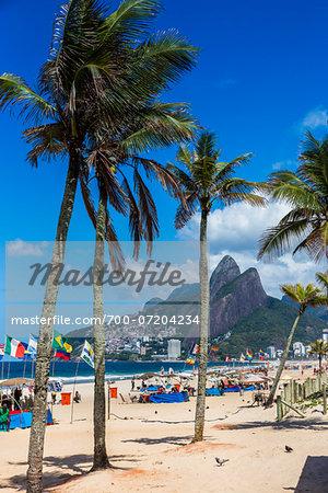 Scenic view of Ipanema Beach with palm trees, Rio de Janeiro, Brazil