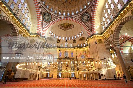 Interior of Suleymaniye Mosque, UNESCO World Heritage Site, Istanbul, Turkey, Europe