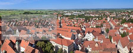 View over the old town of Noerdlingen, Romantische Strasse, Schwaben, Bavaria, Germany, Europe