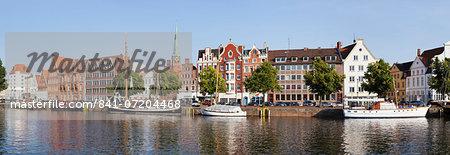 The Holstenhafen on the River Untertrave, Lubeck, Schleswig Holstein, Germany, Europe