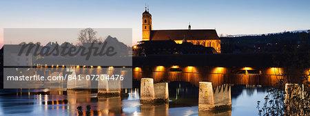 Historical wooden bridge and cathedral, Bad Sackingen, Schwarzwald, Baden Wurttemberg, Germany, Europe
