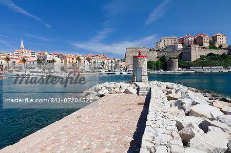 Port and citadel, Calvi, Balagne, Corsica, France, Mediterranean, Europe