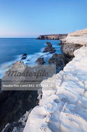 Limestone terraces at the cliffs to the Mirador, Ajuy, Fuerteventura, Canary Islands, Spain, Atlantic, Europe