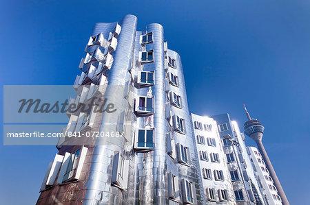 Neuer Zollhof, designed by Frank Gehry, Medai Harbour (Medienhafen), Dusseldorf, North Rhine Westphalia, Germany, Europe