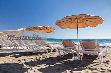 Parasols at the beach of Costa Calma, Fuerteventura, Canary Islands, Spain, Atlantic, Europe