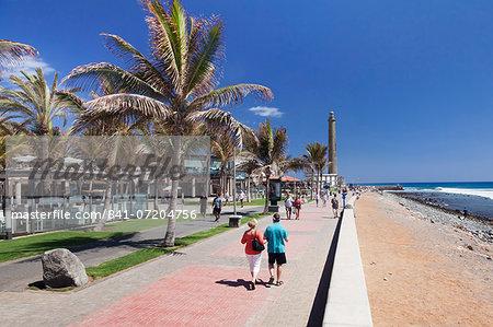 Promenade and lighthouse Faro de Maspalomas, Maspalomas, Gran Canaria, Canary Islands, Spain, Atlantic, Europe