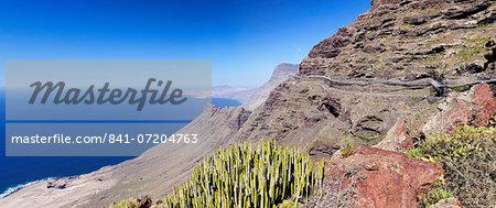 Anden Verde, West Coast with Puerto de las Nieves and Faneque mountain, Gran Canaria, Canary Islands, Spain, Atlantic, Europe
