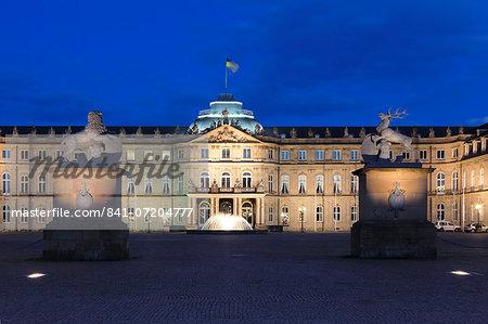 Neues Schloss castle at Schlossplatz Square, Stuttgart, Baden Wurttemberg, Germany, Europe