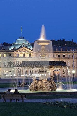 Neues Schloss castle and fountain at Schlossplatz Square, Stuttgart, Baden Wurttemberg, Germany, Europe
