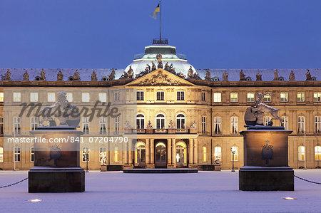 Neues Schloss castle at Schlossplatz square in winter, Stuttgart, Baden Wurttemberg, Germany, Europe