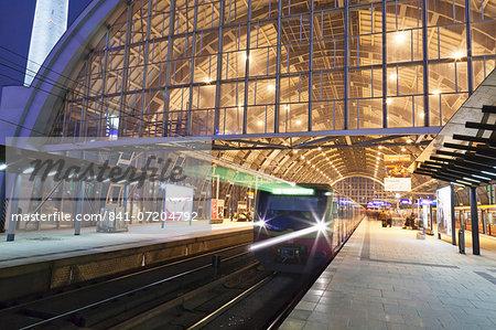 Incoming train, Alexanderplatz S Bahn station, Berlin, Germany, Europe
