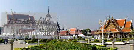 Wat Rajanatda and the Loha Prasat at Wat Thepidaram, Bangkok, Thailand, Southeast Asia, Asia