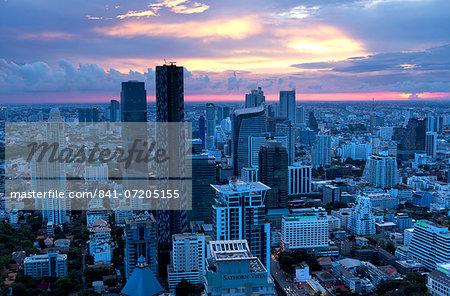 View over Bangkok at sunset from the Vertigo Bar on the roof the Banyan Tree Hotel, Bangkok, Thailand, Southeast Asia, Asia