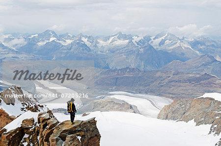 Climber on Monte Rosa Duforspitze, 4634m, highest peak in Switzerland, Zermatt, Valais, Swiss Alps, Switzerland, Europe