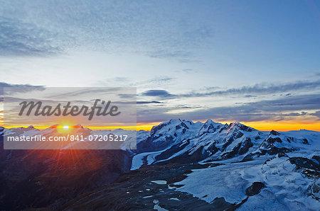 Sunrise view of Monte Rosa from The Matterhorn, Zermatt, Valais, Swiss Alps, Switzerland, Europe