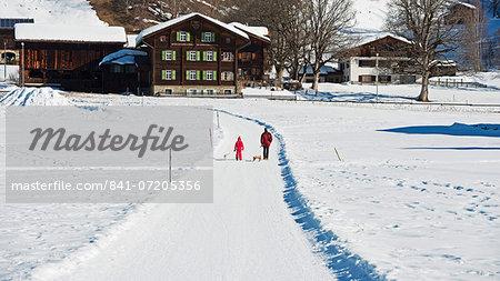 Winter walking trail, Klosters, Graubunden, Swiss Alps, Switzerland, Europe