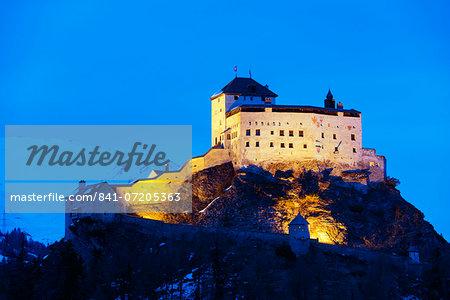 Scuol Castle (Schloss Tarasp), Scuol-Tarasp, Graubunden, Swiss Alps, Switzerland, Europe