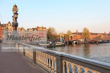 Blauwbrug, bridge over the Amstel River, Amsterdam, Netherlands, Europe