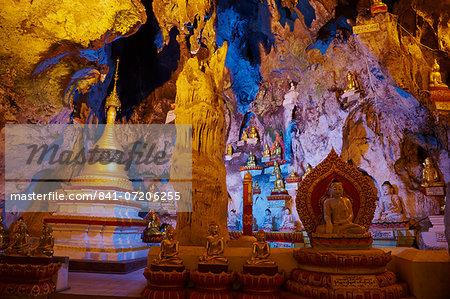Interior, Shwe Oo Min natural Buddhist cave pagoda, Pindaya, Shan State, Myanmar (Burma), Asia