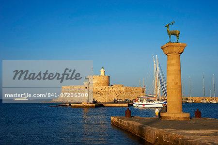 Mandraki Harbour, Rhodes City, Rhodes, Dodecanese, Greek Islands, Greece, Europe