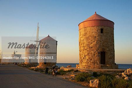 Windmills and Agios Nikolaos, Rhodes City, Rhodes, Dodecanese, Greek Islands, Greece, Europe